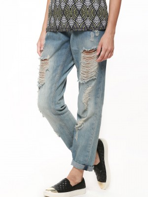 Buy BRAVE SOUL Distressed Denim Boyfriend Jeans For Women ...