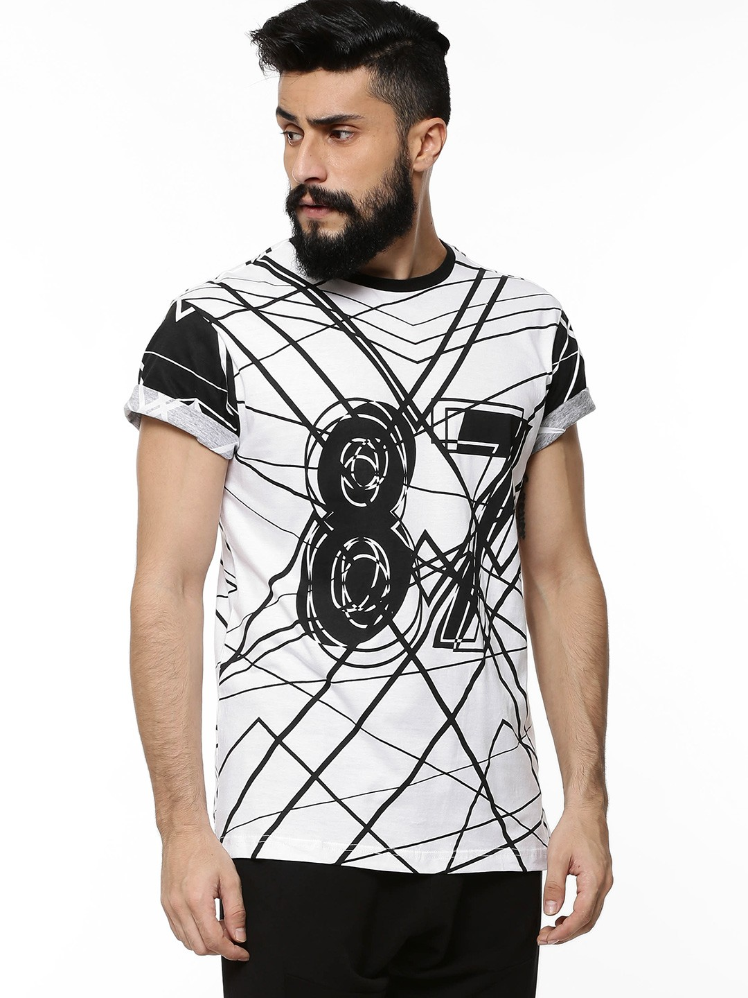 Buy koovs all over printed t shirt for men men 39 s white t for Printed t shirts india