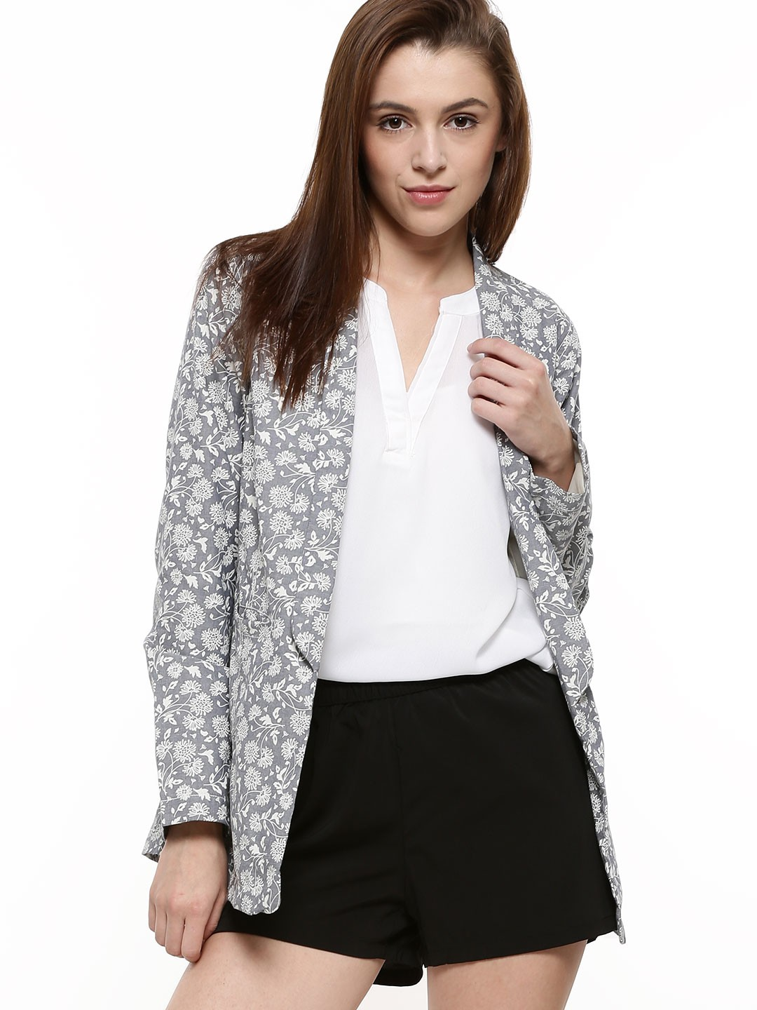 buy femella floral print oversized blazer for women women 39 s blue blazers online in india. Black Bedroom Furniture Sets. Home Design Ideas