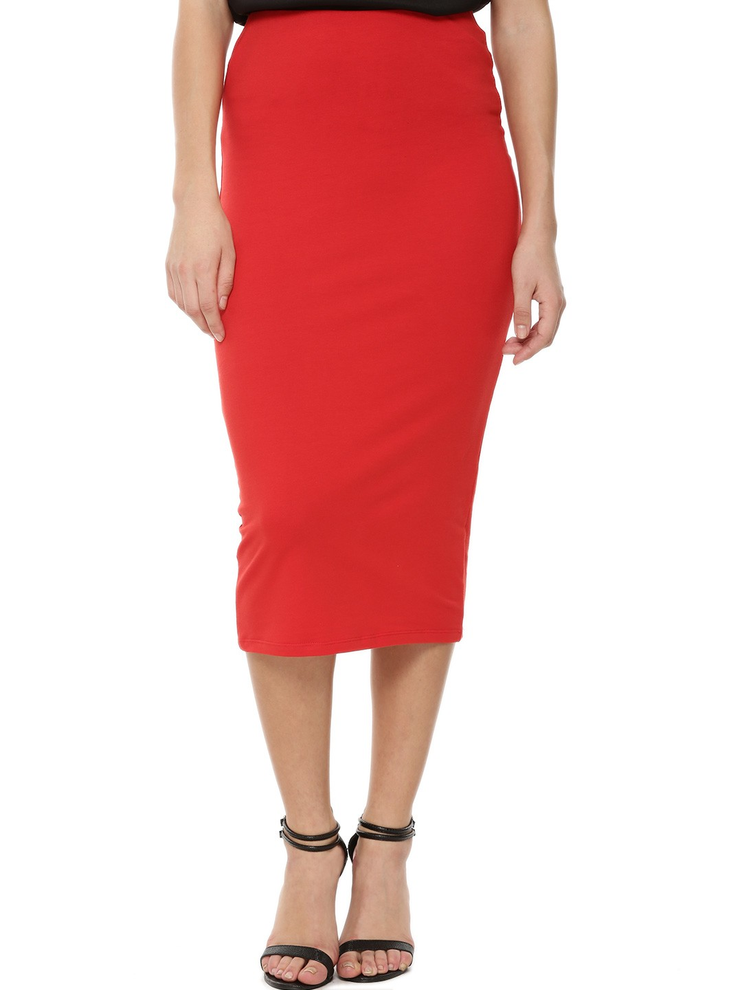 Buy KOOVS Midi Pencil Skirt For Women - Women's Red/Multi Pencil ...