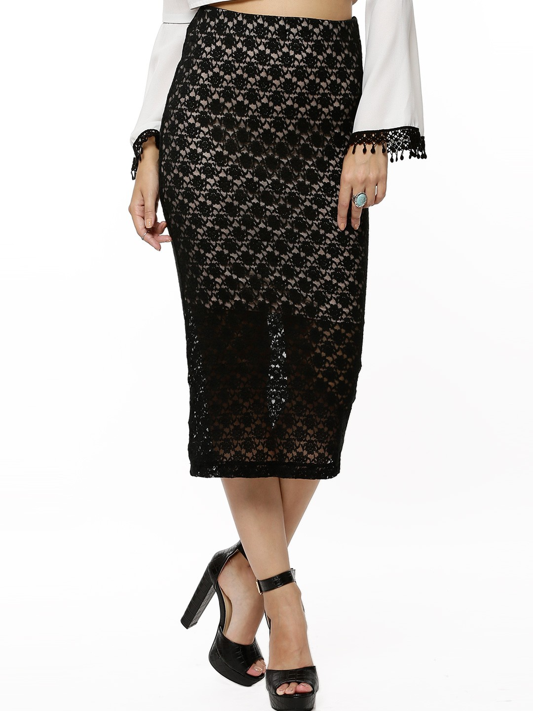 Buy KOOVS Lace Fitted Midi Skirt For Women - Women's Black ...