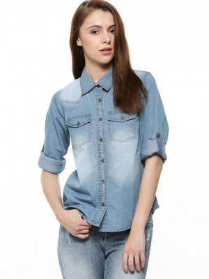 Buy K DENIM Denim Shirt For Women - Women's Blue Shirts Online in ...