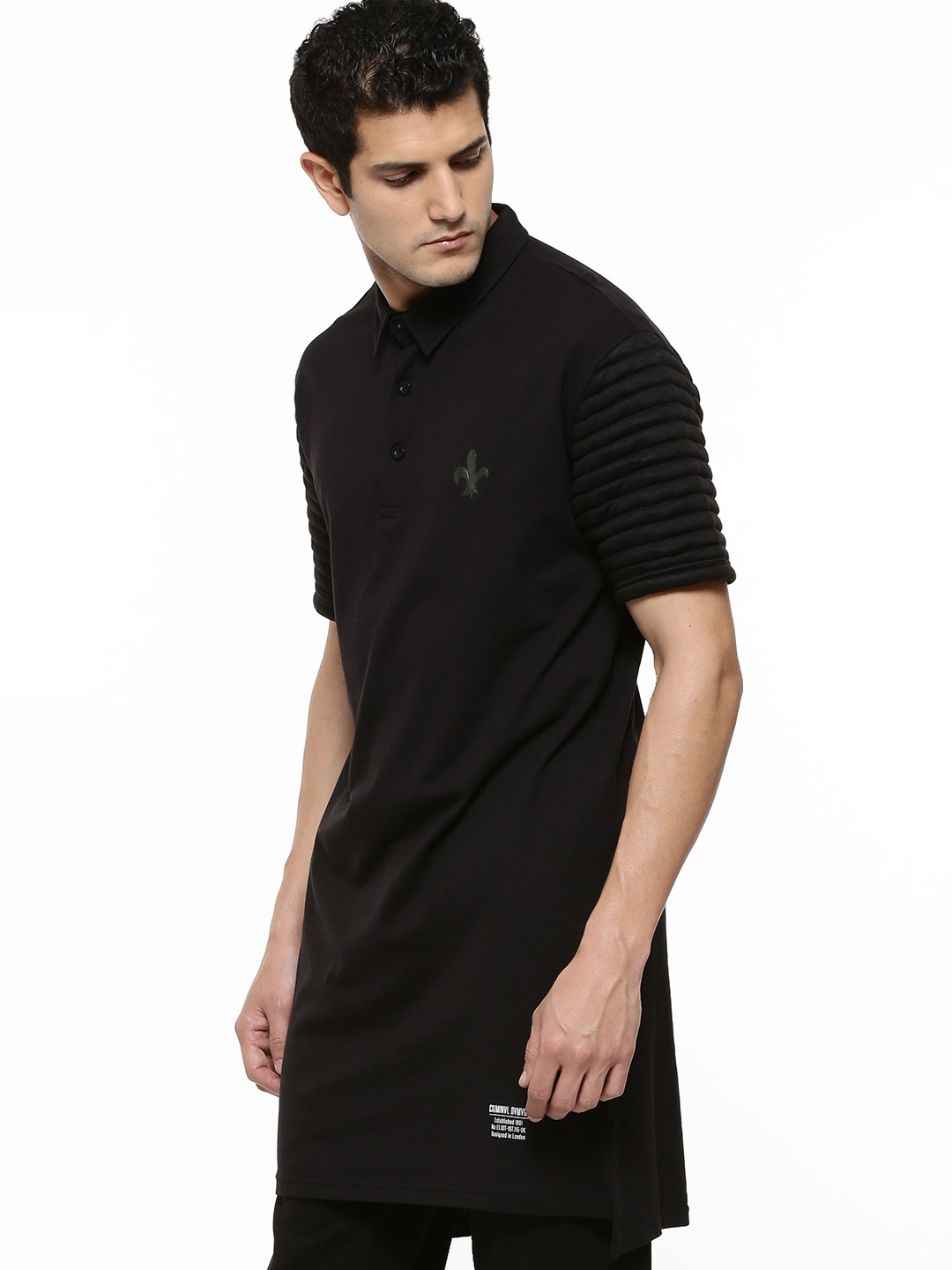 Black quilted t shirt - Criminal Damage Longline Polo Shirt With Quilted Sleeves
