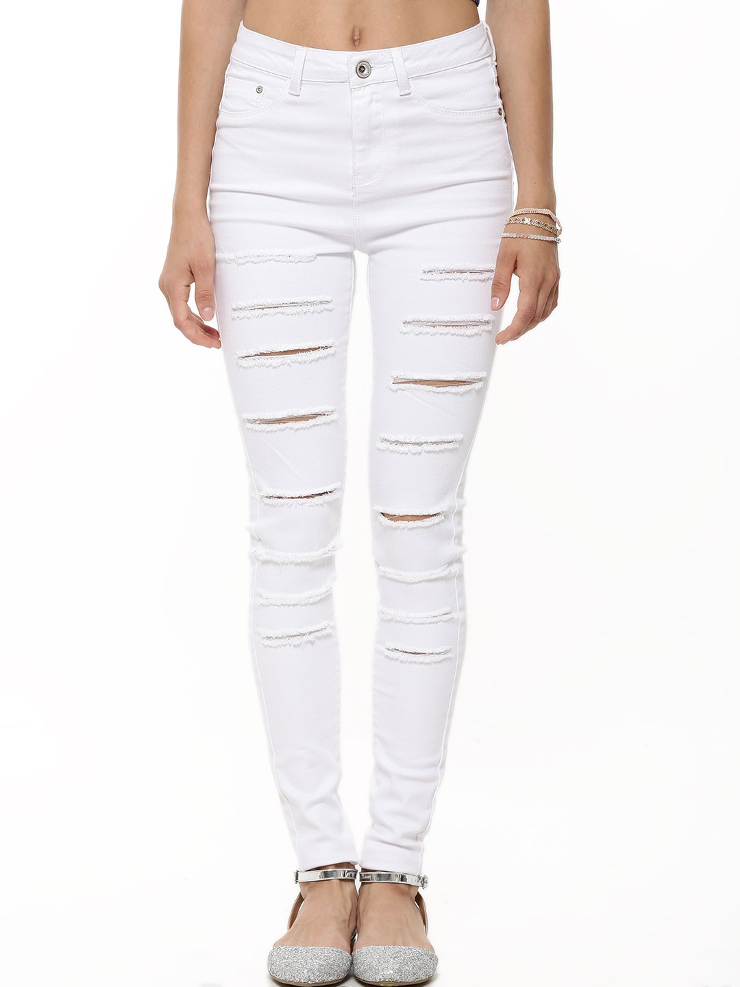 buy new look extreme rip skinny jean for women women 39 s white skinny jeans online in india. Black Bedroom Furniture Sets. Home Design Ideas
