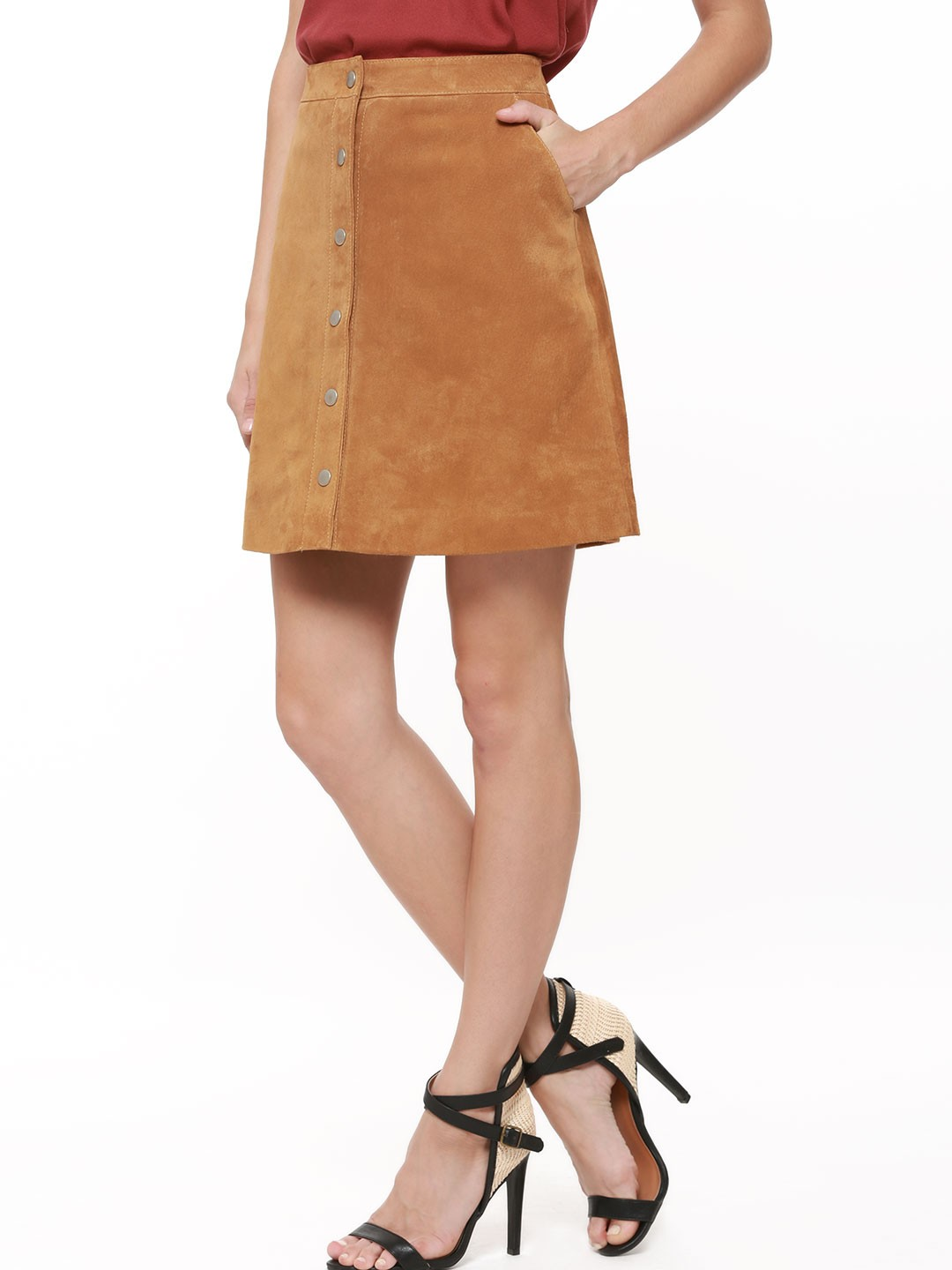 Buy WAREHOUSE Genuine Suede A-line Skirt For Women - Women's Tan ...