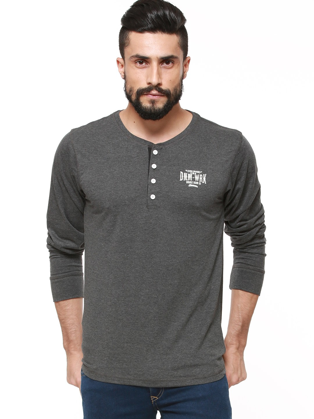 Buy flying machine henley neck t shirt in full sleeves for for Full sleeves t shirts for men