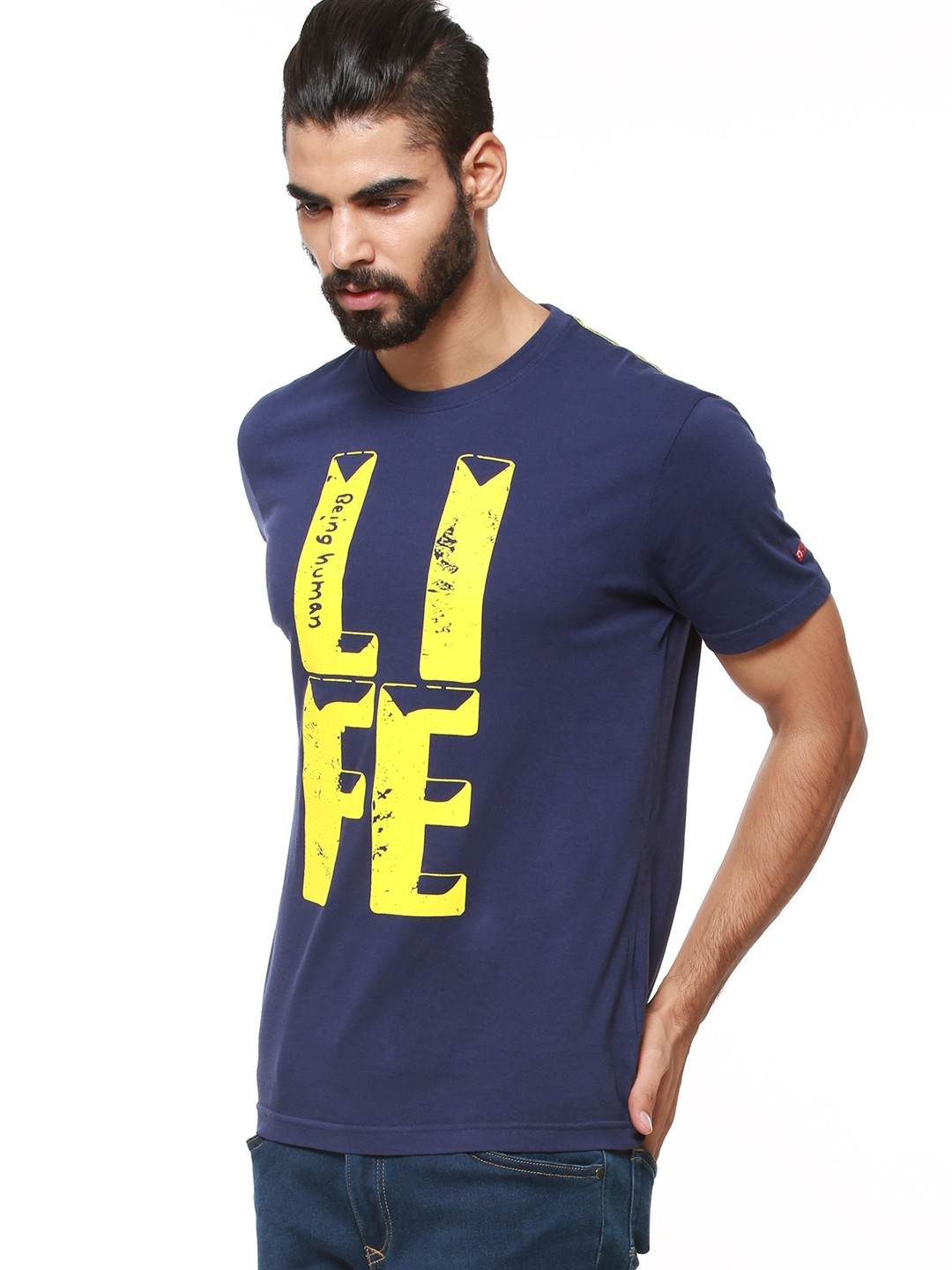 Buy being human t shirt with life print for men men 39 s for Being human t shirts buy online india