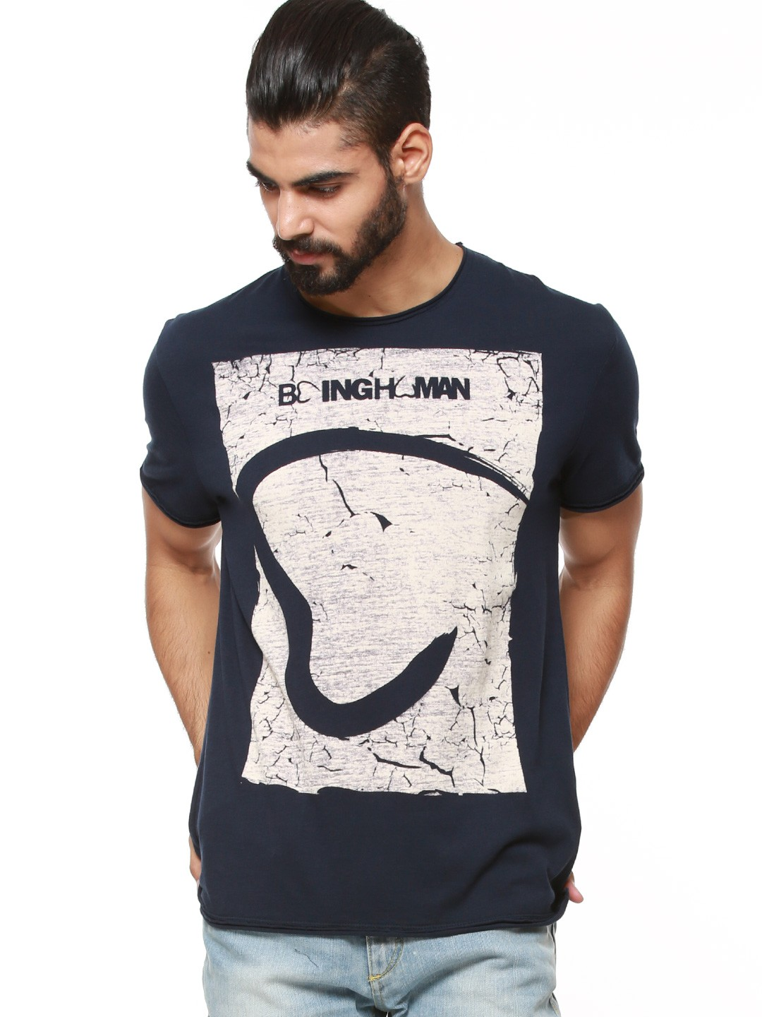 Buy being human logo t shirt with wash effect for men for Being human t shirts buy online india