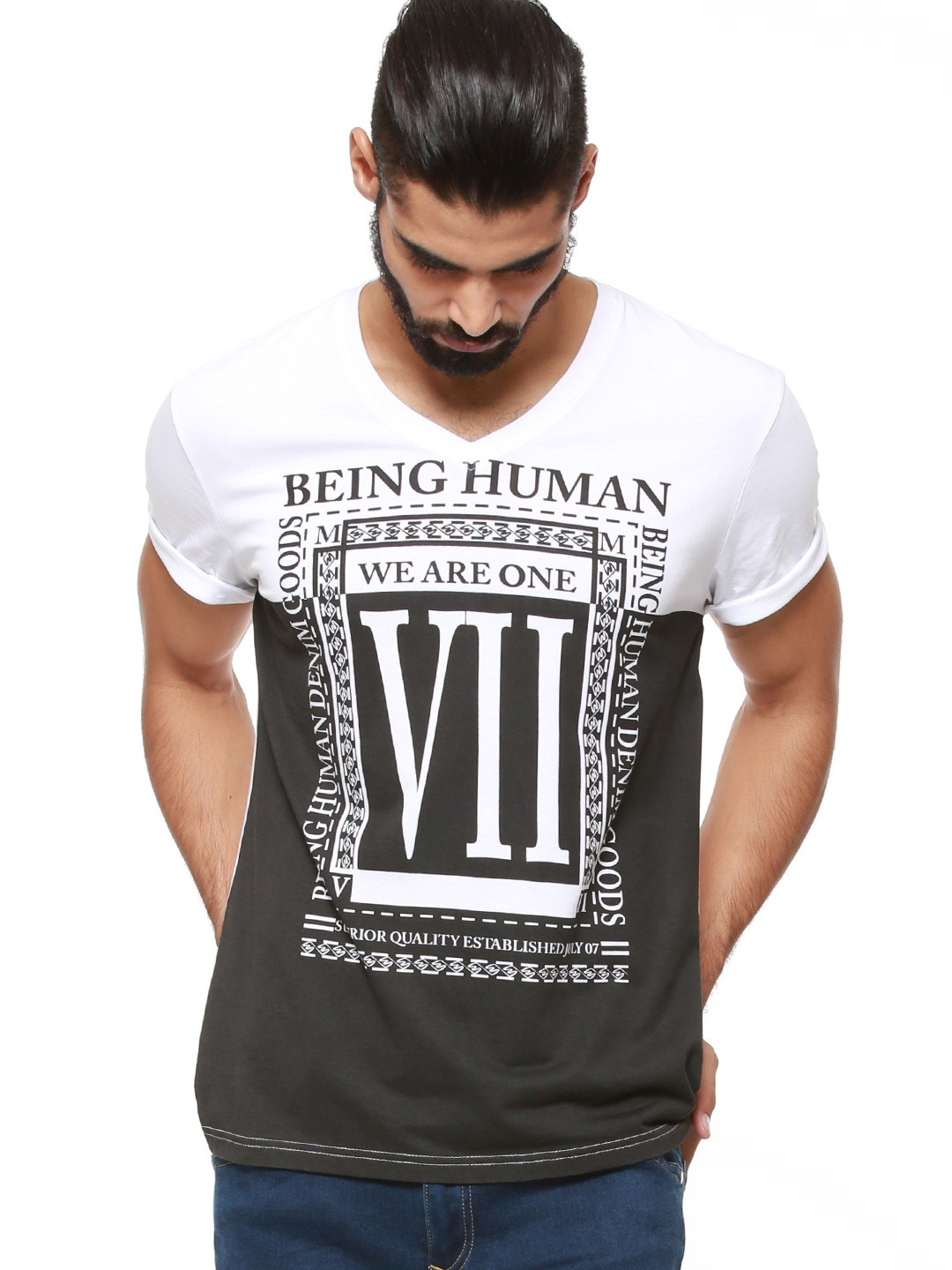 Buy being human we are one slogan printed t shirt for men for Being human t shirts buy online india
