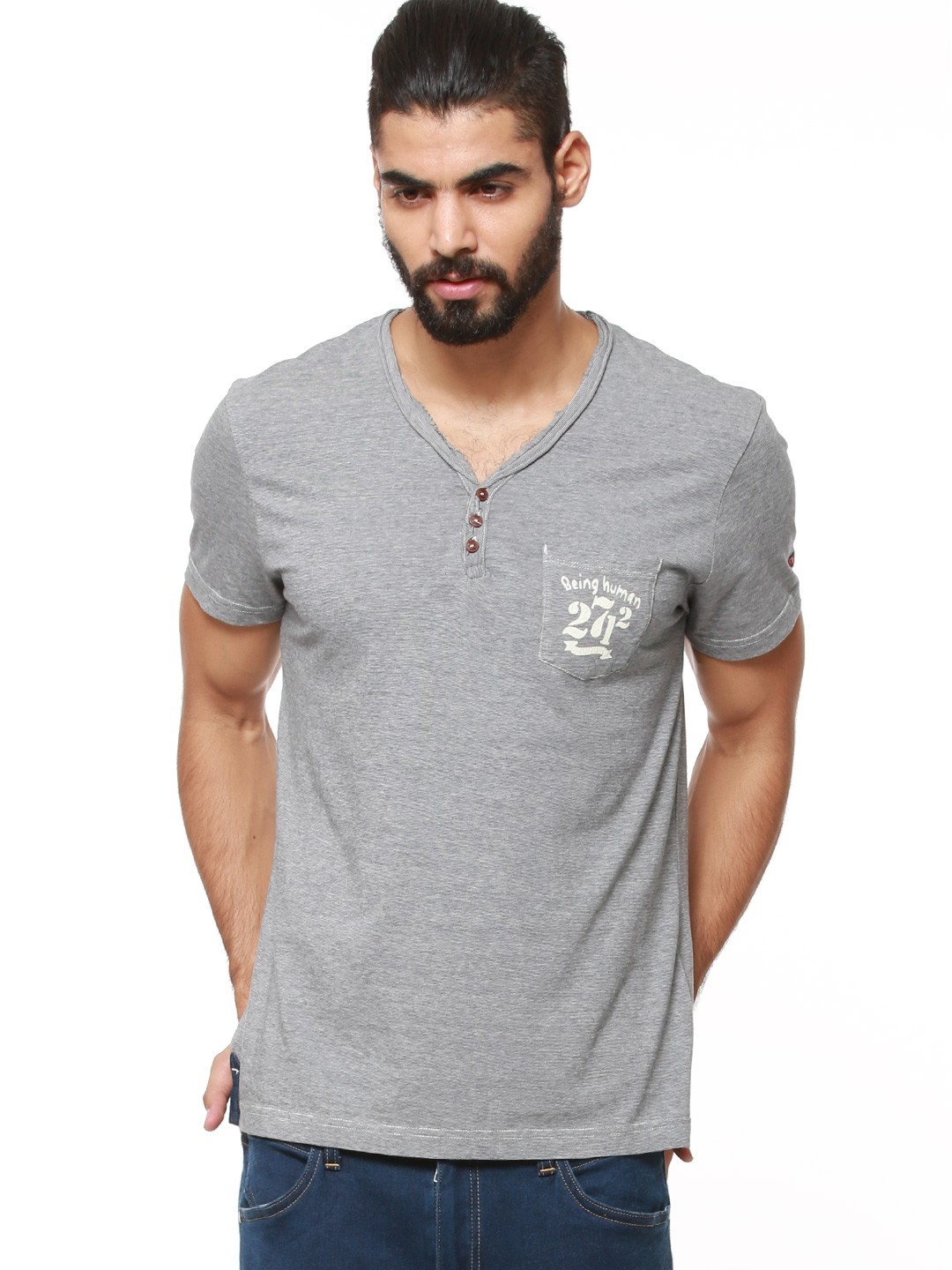 Buy being human henley t shirt with raw neckline for men for Being human t shirts buy online india