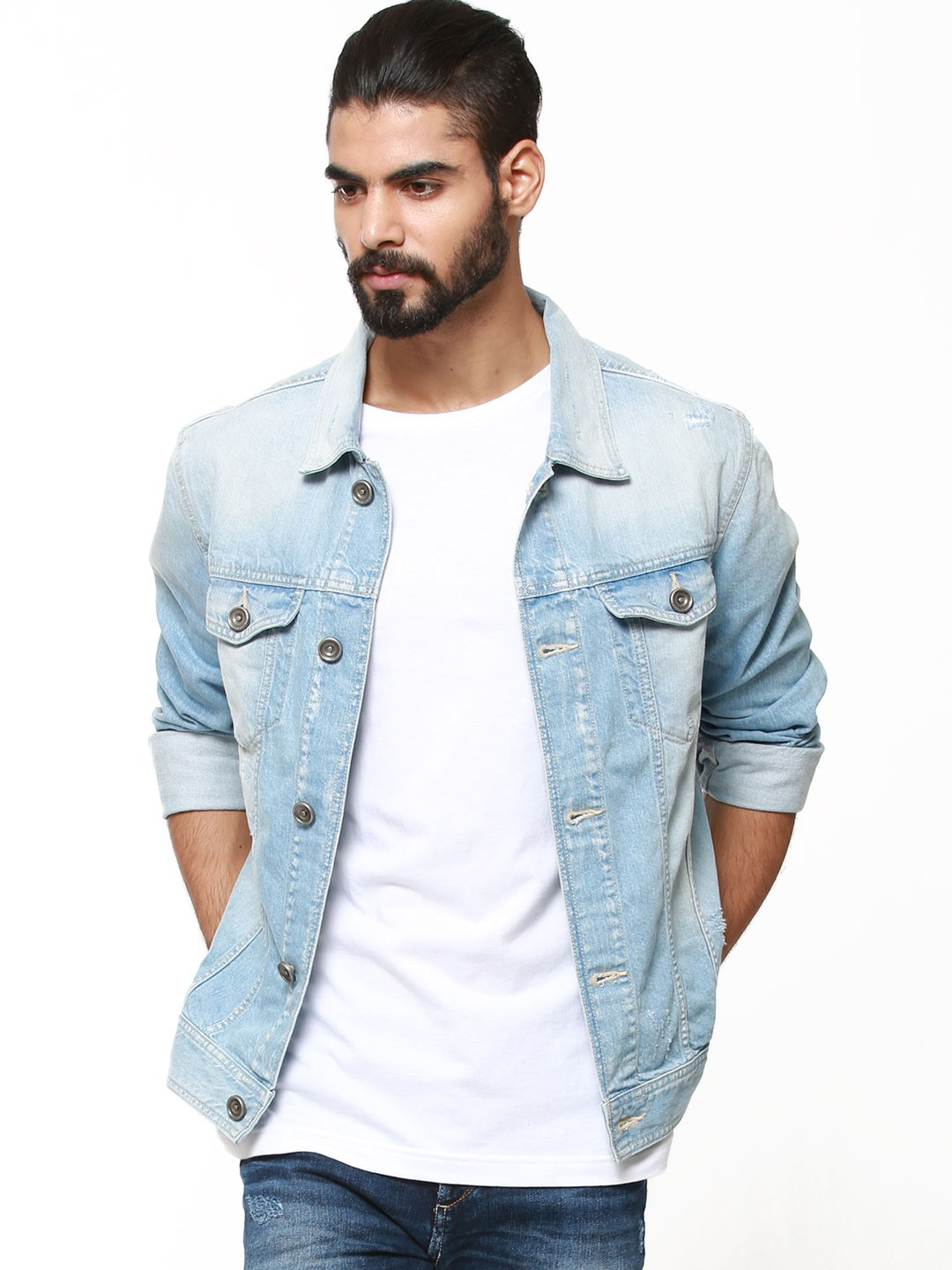 Buy VOI JEANS Light Wash Denim Jacket For Men - Men's Light Blue ...