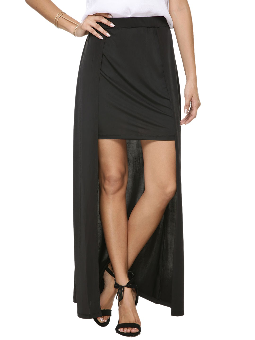 buy koovs hi low hem maxi skirt for s black