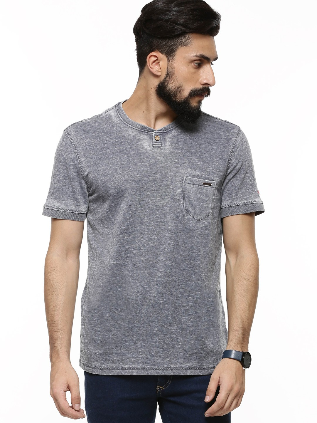 Buy being human oil wash henley t shirt as seen on salman for Being human t shirts buy online india