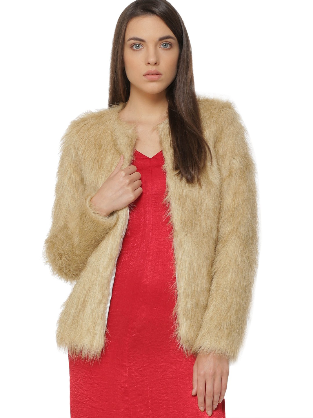 Buy KOOVS Long Line Fur Jacket For Women - Women's Brown Jackets ...