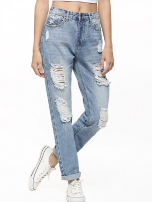 Buy MOMOKROM Distressed High Waist Boyfriend Jeans For Women ...