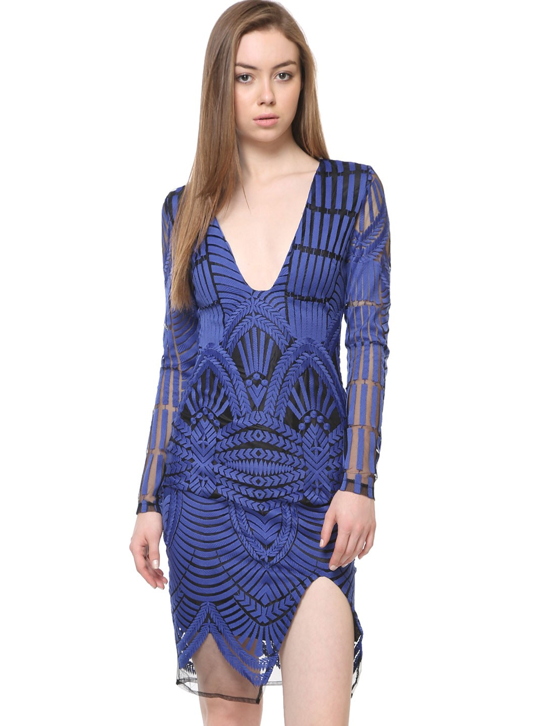 Buy lavish alice embroidered mesh side split pencil dress