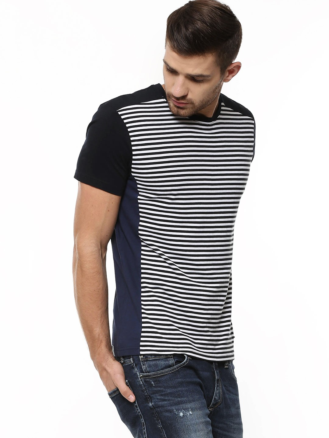 Buy being human striped panel t shirt with contrast back for Being human t shirts buy online india