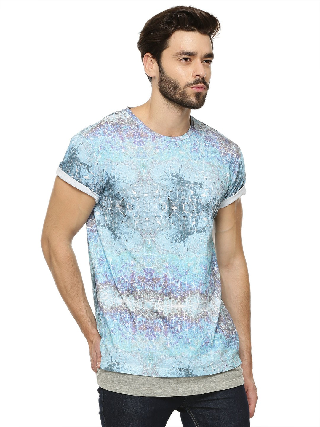Buy koovs shirt hem printed t shirt as seen on karan for Couple printed t shirts india
