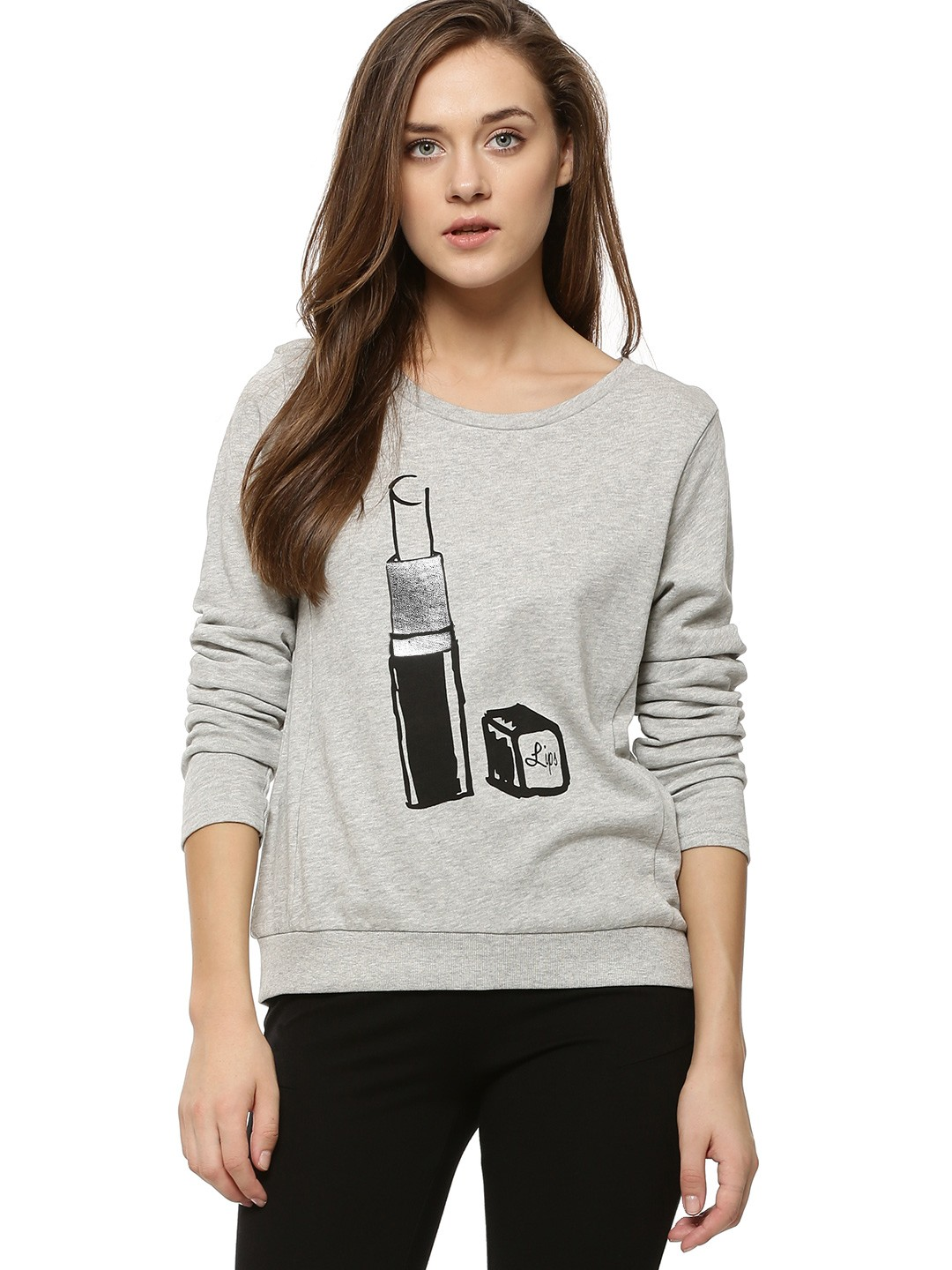 Buy ONLY Printed Sweatshirt For Women - Women's Grey Sweatshirts ...