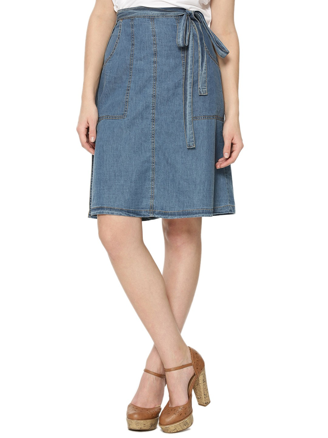 Buy KOOVS Tie Front A-line Denim Skirt For Women - Women's Blue ...