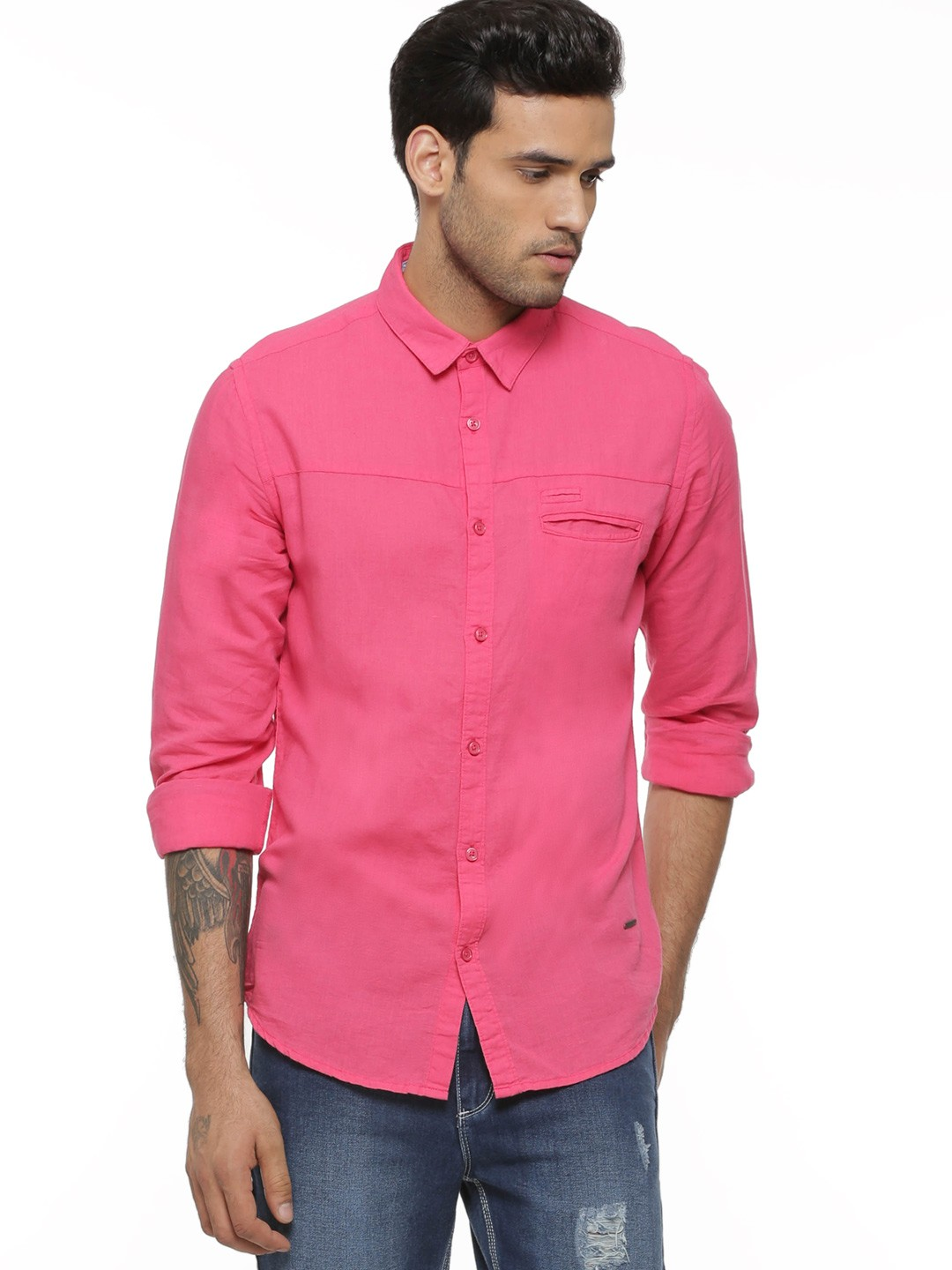 Buy POE Solid Shirt In Slim Fit For Men - Men's Pink Casual Shirts ...