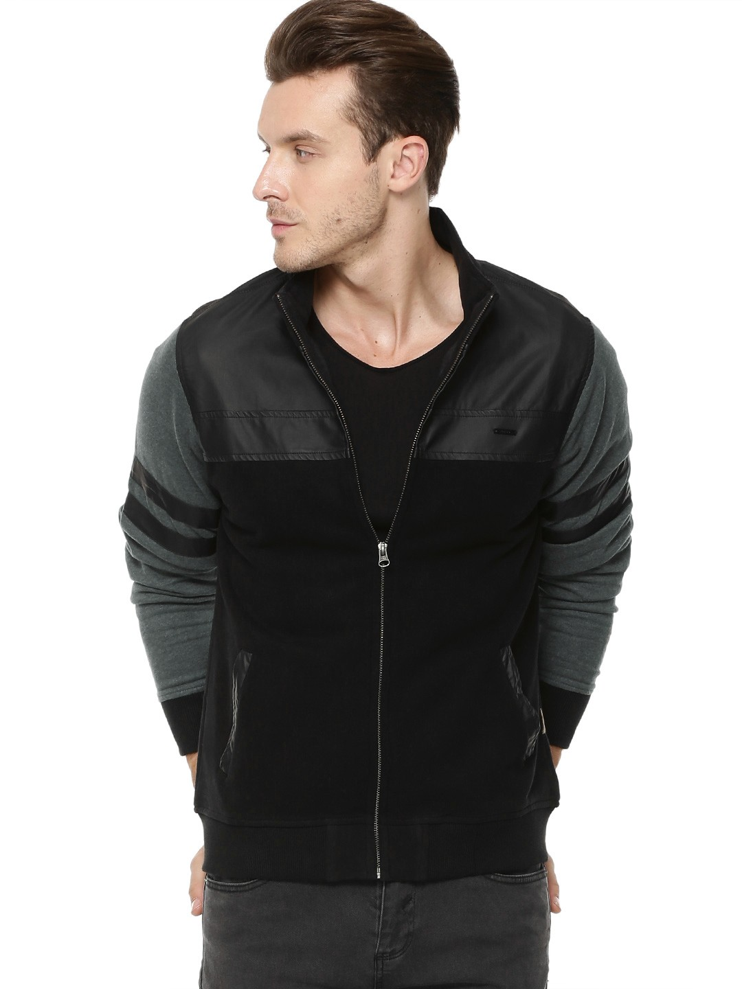 a4282dd603c Buy FLYING MACHINE Faux Leather Detail Sweatshirt For Men .