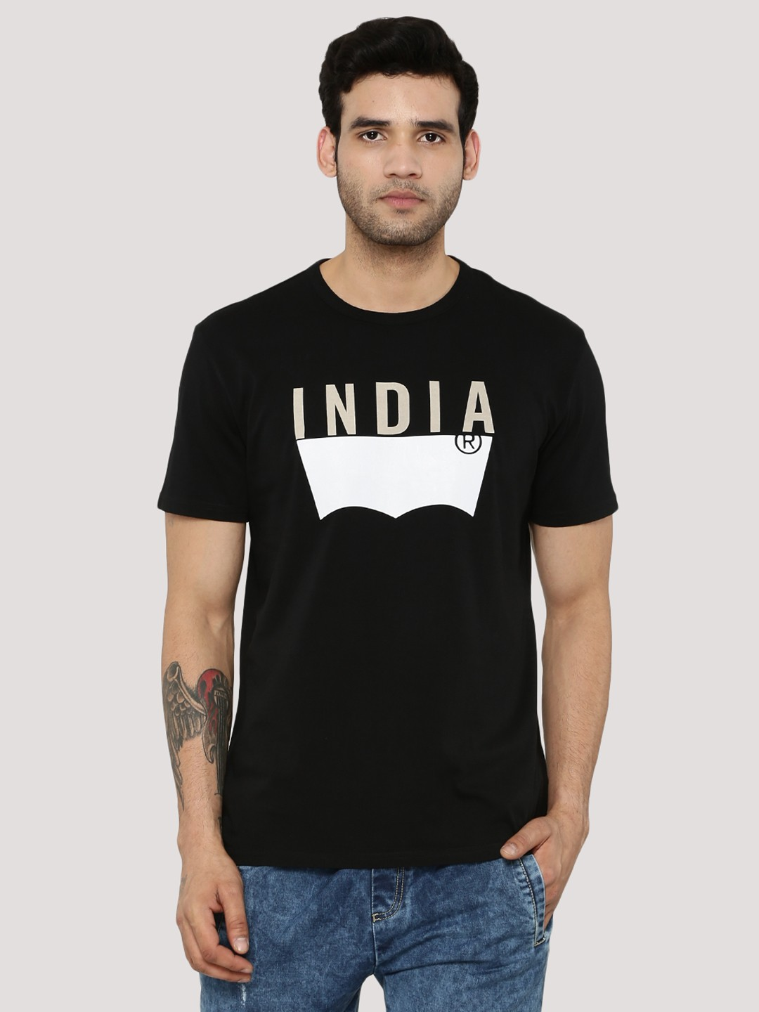 Black t shirt buy online - Levi S Batwing Logo India T Shirt