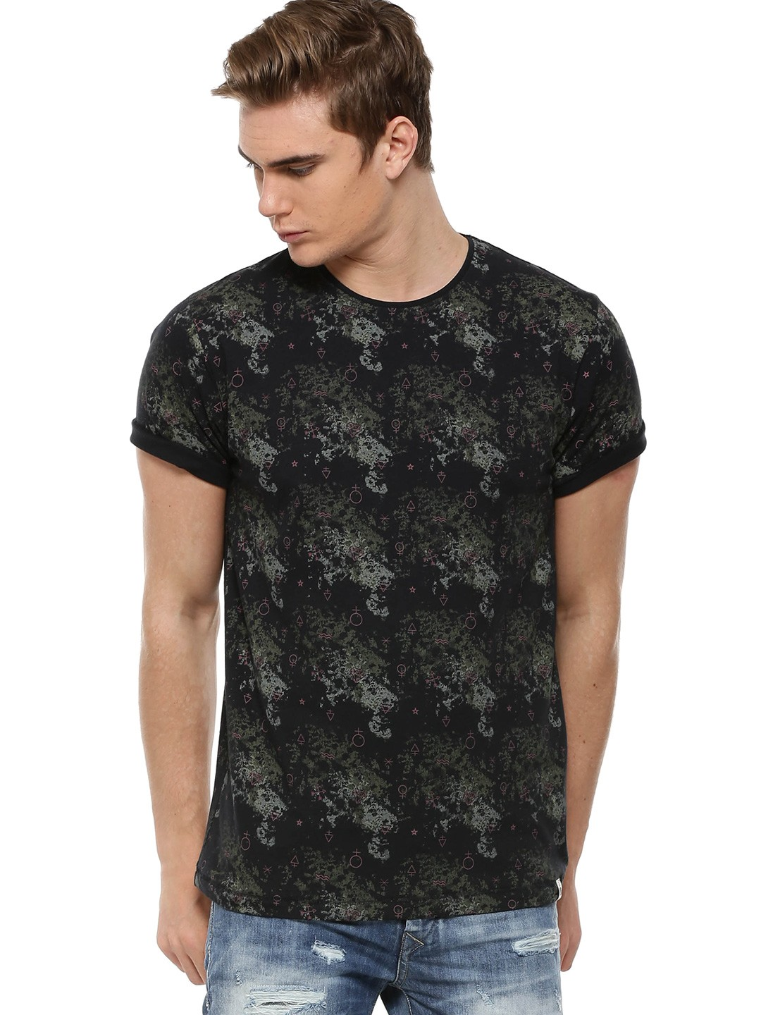 Black t shirt rolled up sleeves - Slub Camo Print T Shirt With Roll Up Sleeves