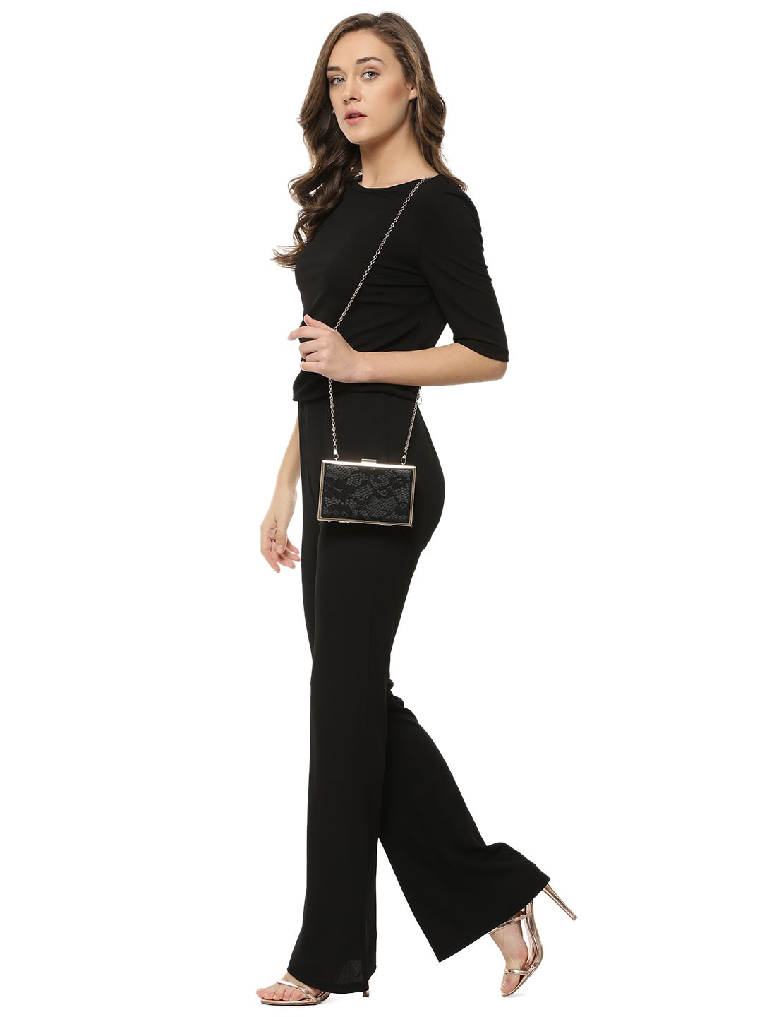 buy vero moda flare jumpsuit for women women 39 s black jumpsuits online in india. Black Bedroom Furniture Sets. Home Design Ideas