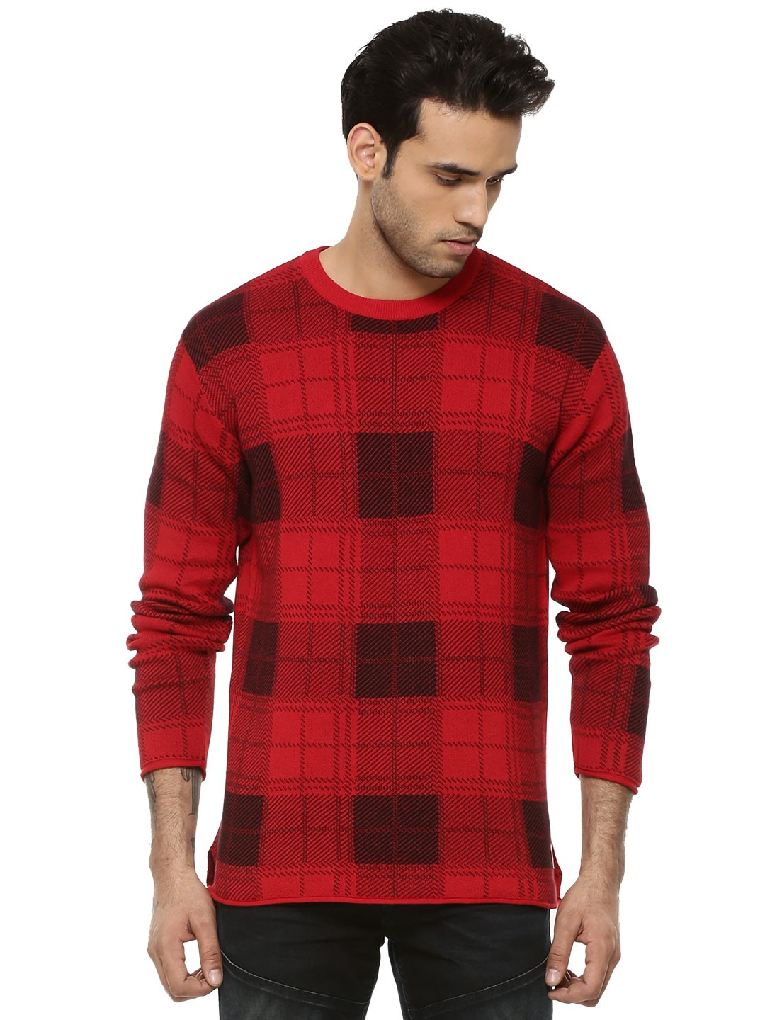 buy jack jones chequered pullover with raw edges for men. Black Bedroom Furniture Sets. Home Design Ideas