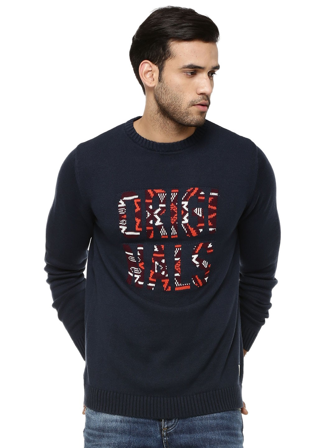 buy jack jones knit pullover with tribal print for men. Black Bedroom Furniture Sets. Home Design Ideas