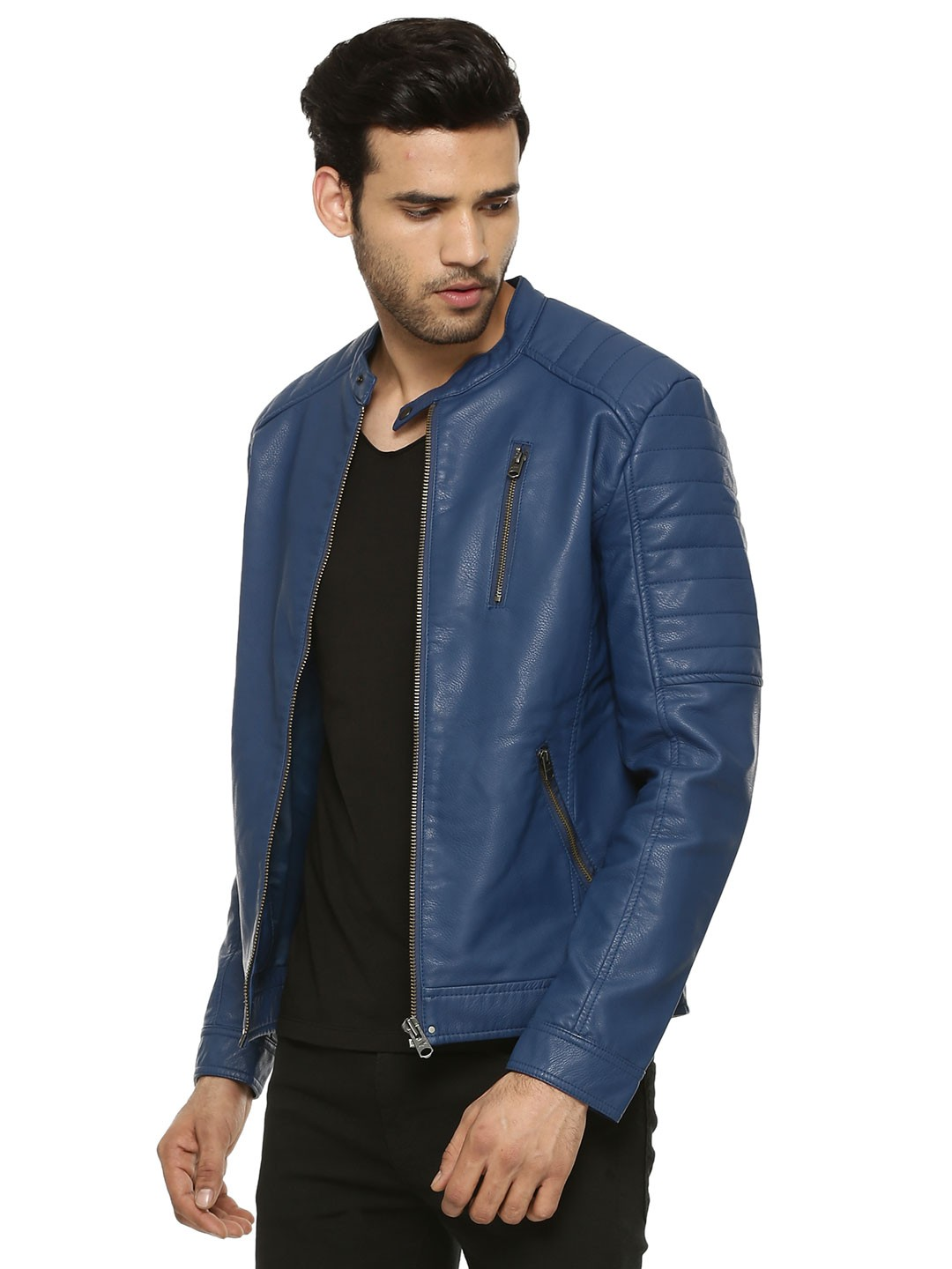 buy jack jones biker jacket with sleeve quilting for men men 39 s blue jackets online in india. Black Bedroom Furniture Sets. Home Design Ideas