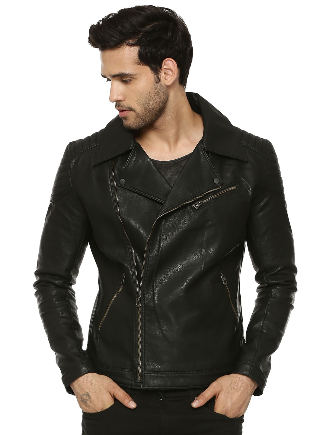 buy jack jones faux leather biker jacket for men men 39 s black jackets online in india. Black Bedroom Furniture Sets. Home Design Ideas