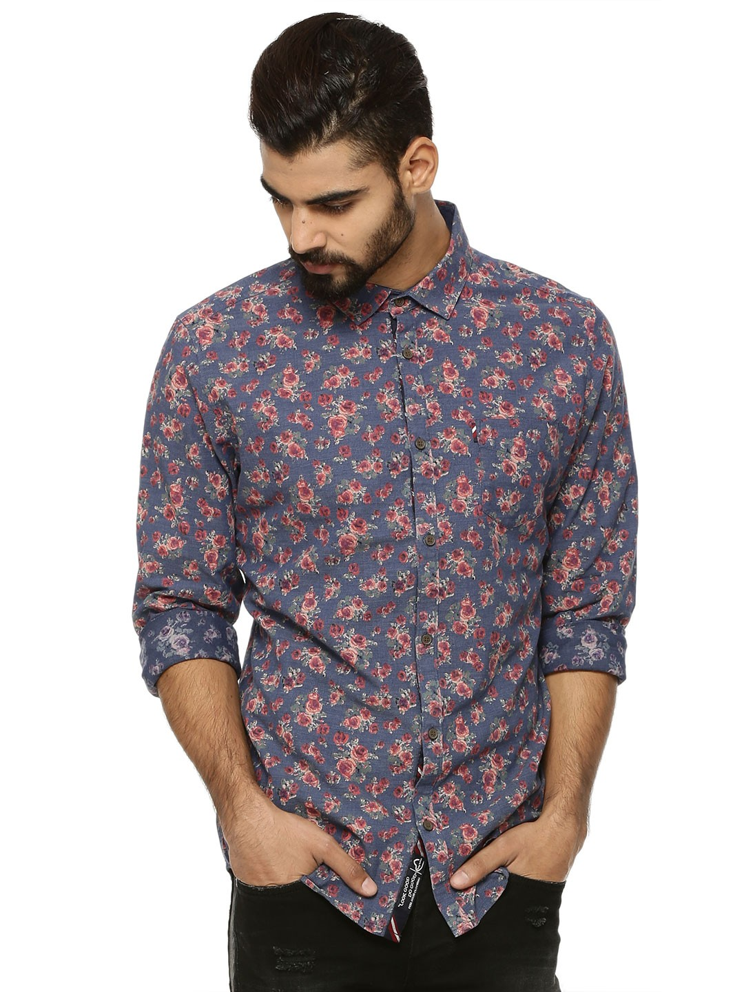 Buy BEING HUMAN Floral Print Shirt For Men - Men's Blue/Multi ...