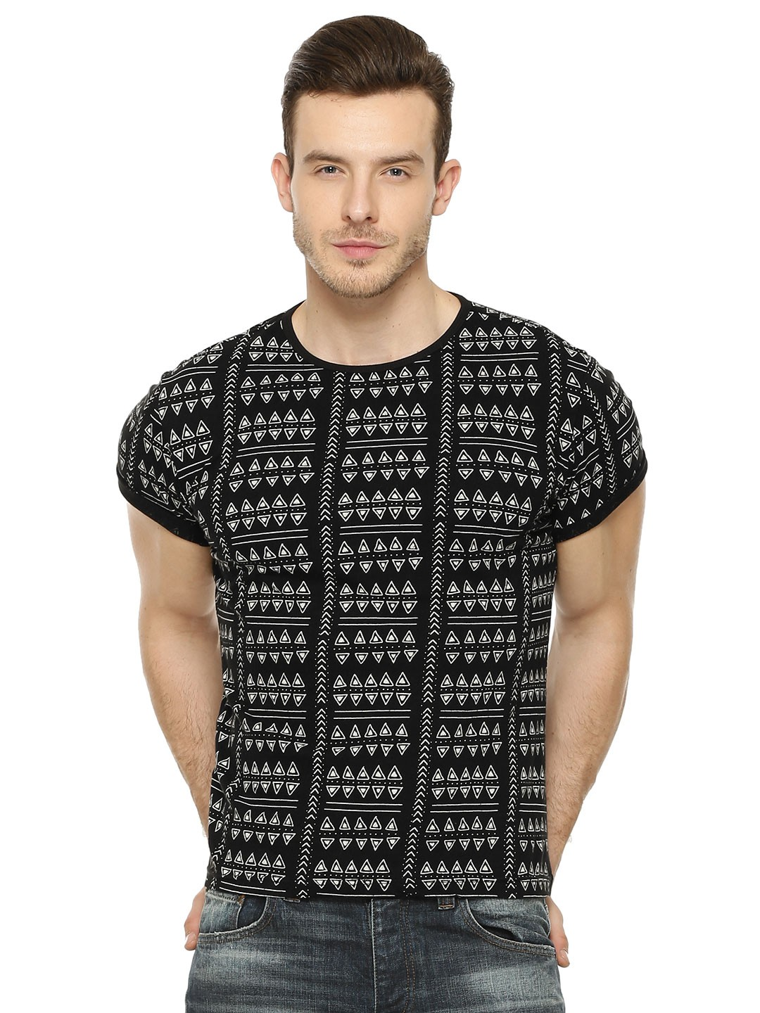 Black t shirt rolled up sleeves - Zobello Tribal Printed T Shirt With Roll Up Sleeves