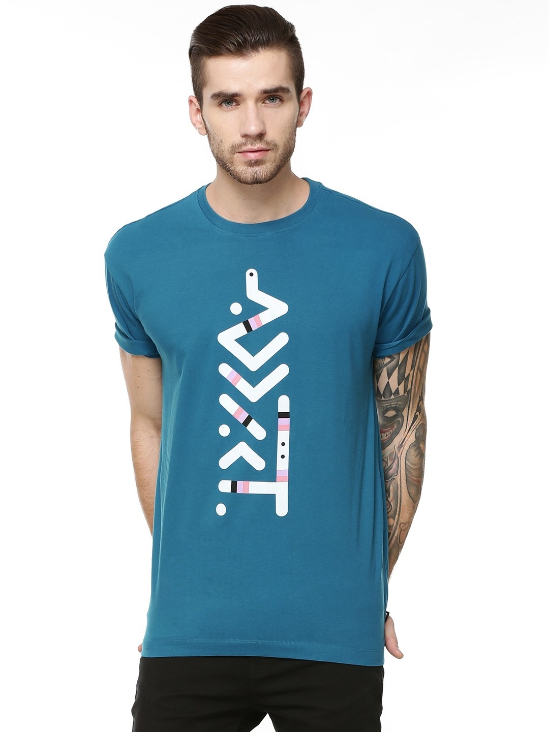 buy addict message t shirt for men men 39 s blue t shirts online in india. Black Bedroom Furniture Sets. Home Design Ideas