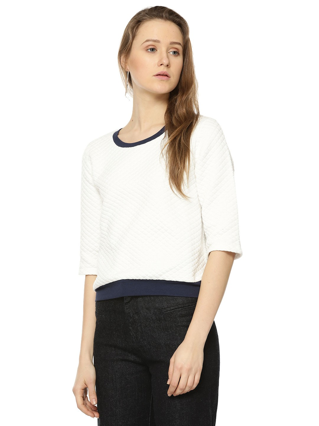 Buy Femella Front Ruffle Top For Women: Buy FEMELLA White Cropped Quilted Sweatshirt For Women