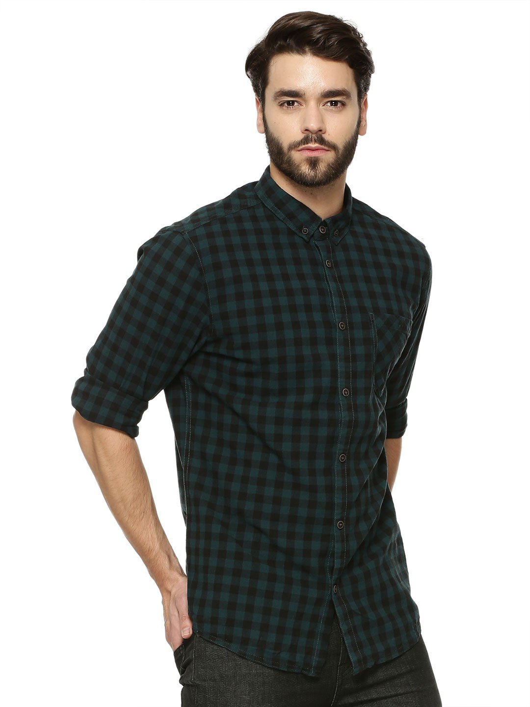 Buy SOLID Small Check Shirt For Men - Men's Green/Multi Casual ...