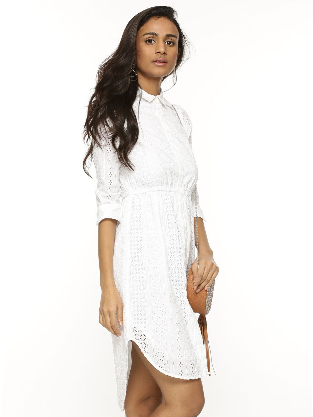 Buy sbuys schiffli shirt dress for women women 39 s white for Buy white dress shirt