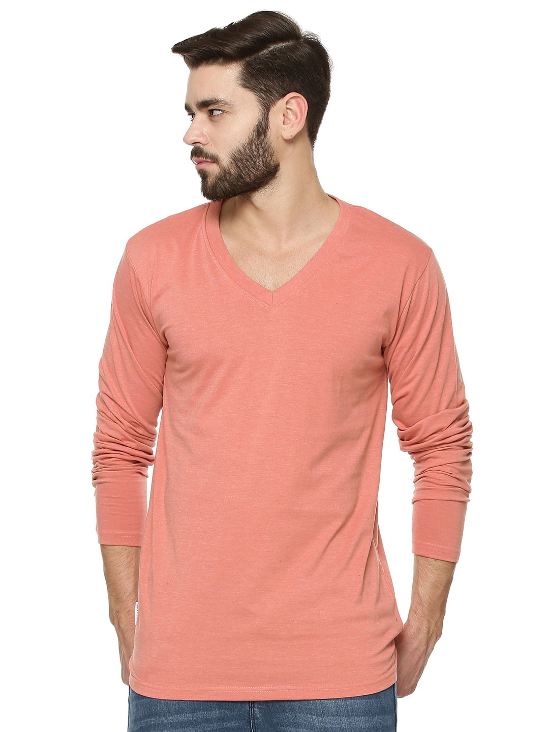 Buy Blue Saint Basic V Neck Full Sleeves T Shirt For Men