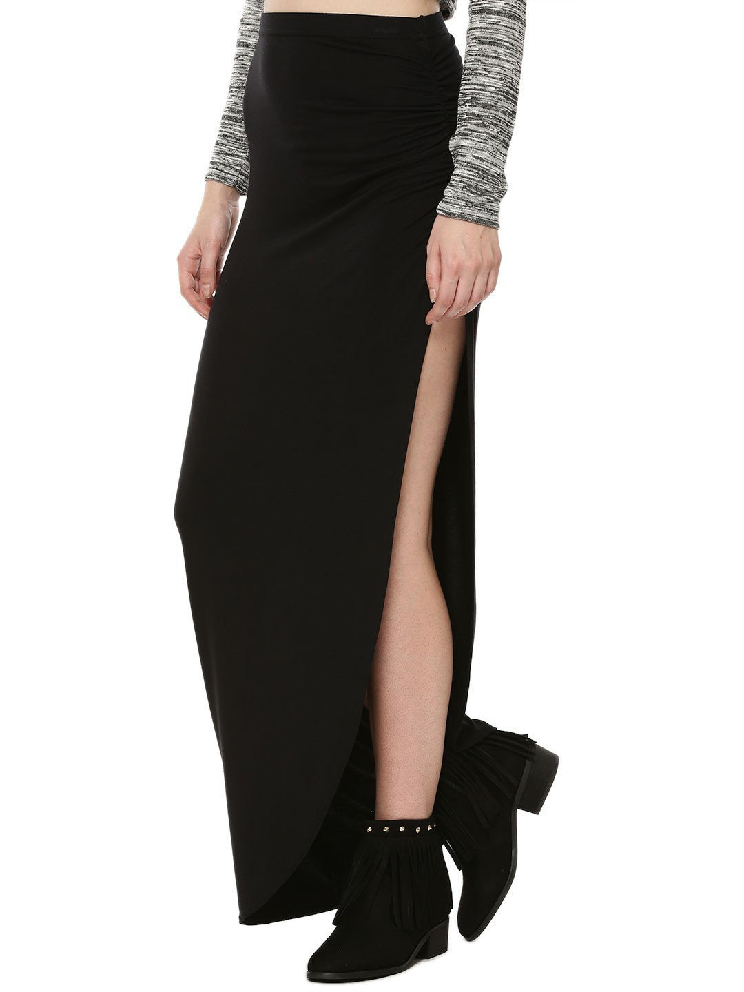 buy boohoo ruched side jersey maxi skirt for