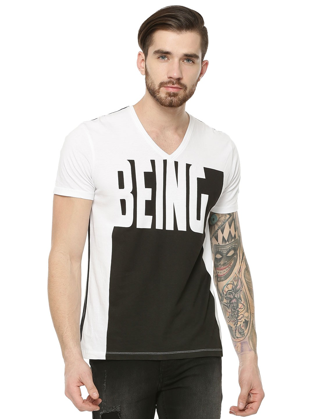 Buy being human contrast text v neck t shirt for men men for Being human t shirts buy online india