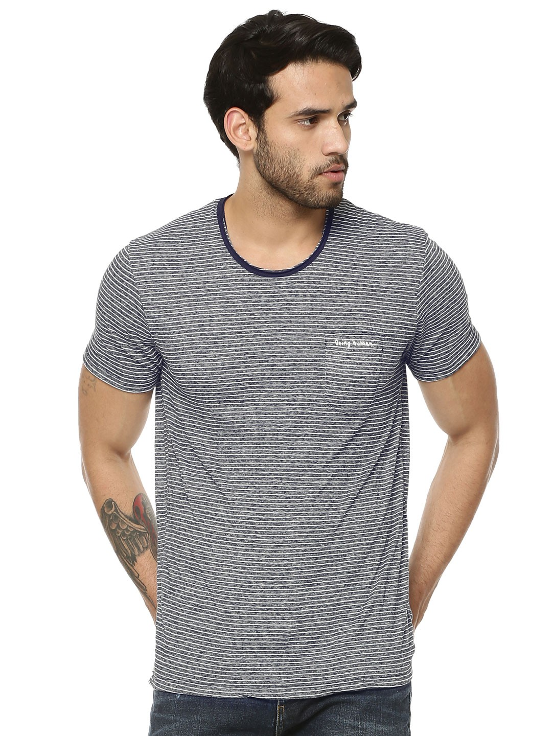 Buy being human striped t shirt with contrast neck for men for Buy being human t shirts online