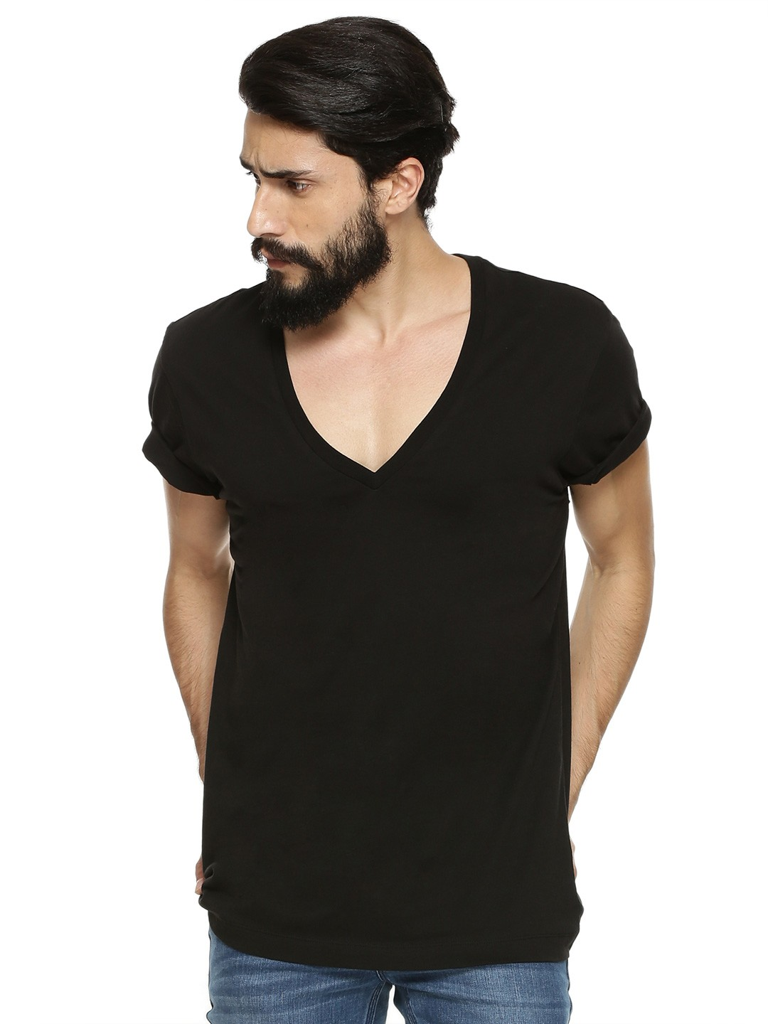 Black t shirt buy online - Koovs Deep V Neck T Shirt