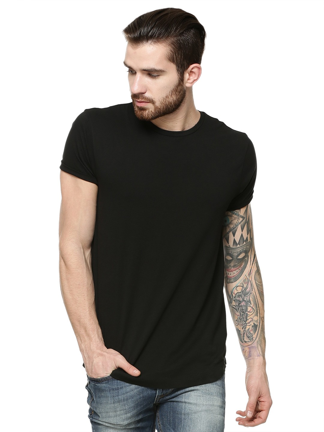 Buy KOOVS Curved Hem T-shirt For Men - Men's Black T-shirts Online ...