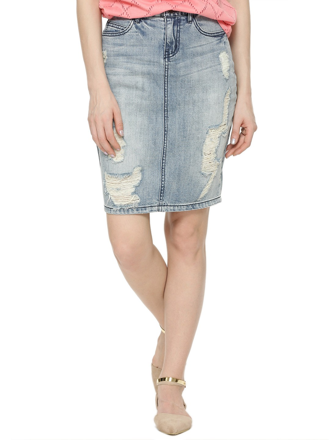 Buy VERO MODA Denim Skirt For Women - Women's Blue Pencil Skirts ...