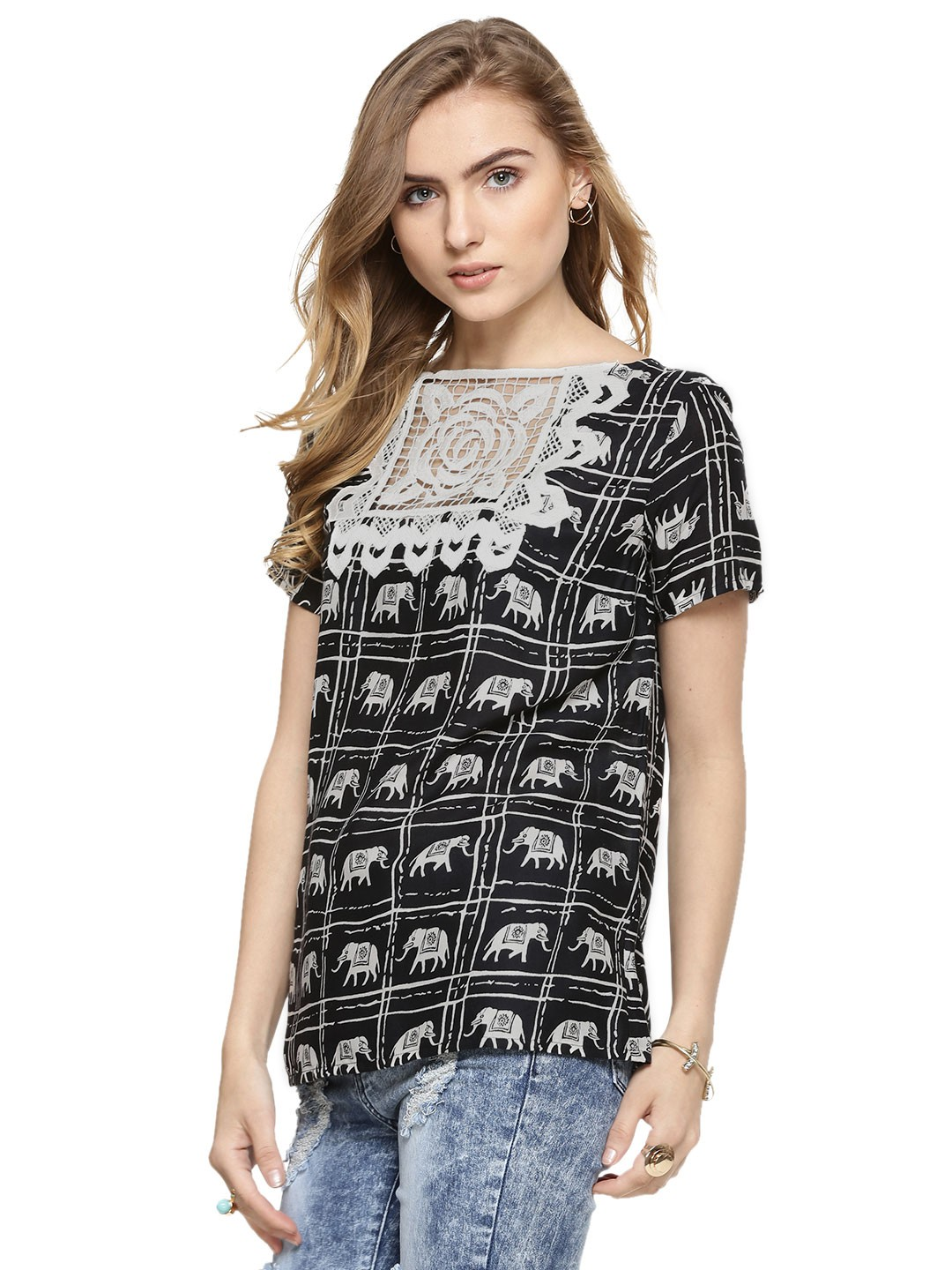 Buy Rena Love Floral Print Peplum Top For Women: Buy RENA LOVE Top With Crochet Square Front For Women