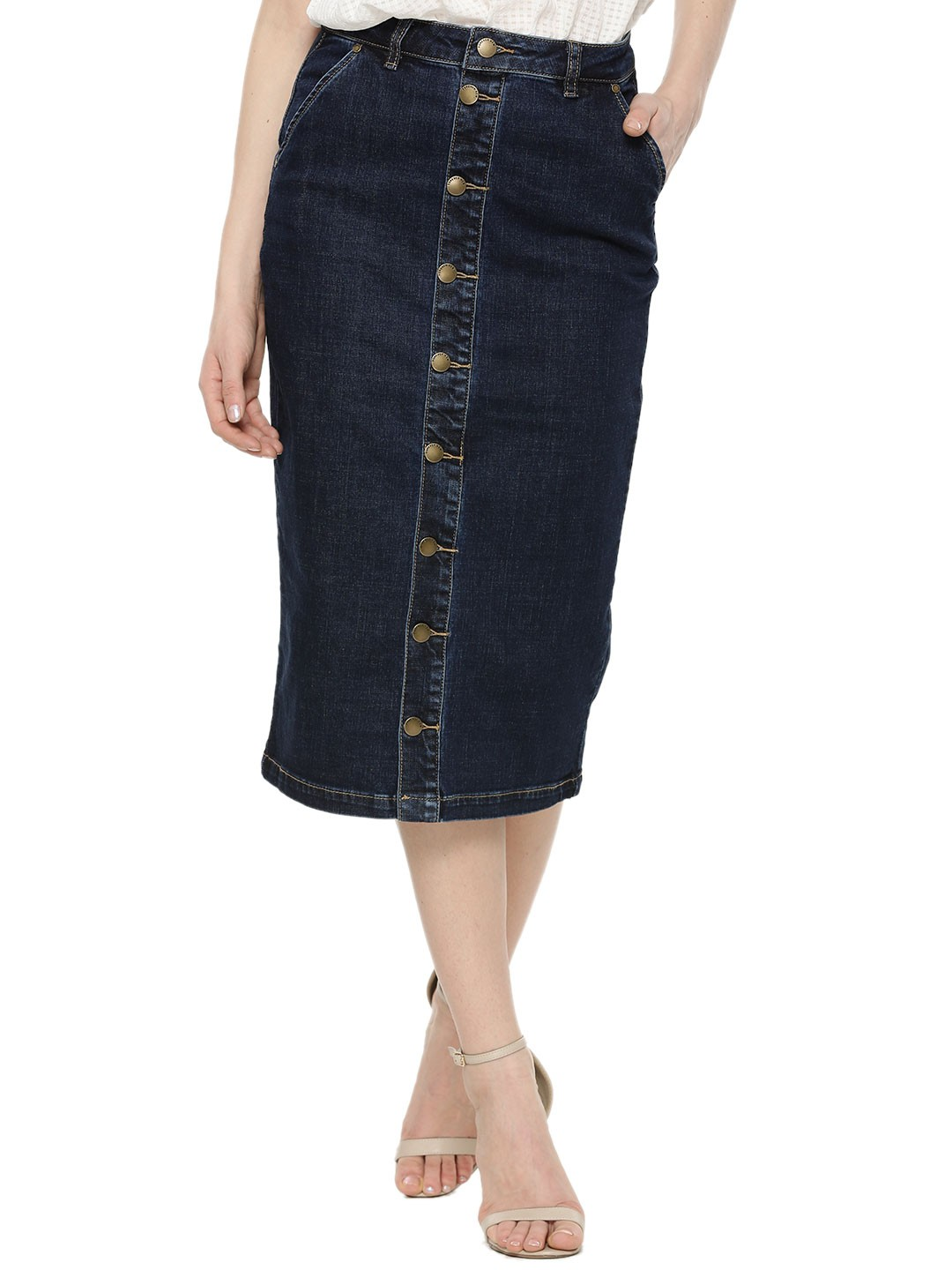 Buy FOREVER NEW Button Through Denim Pencil Skirt For Women ...