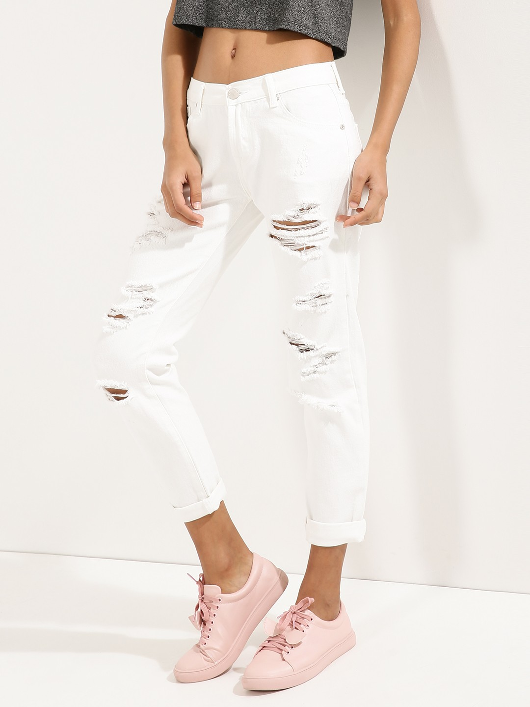 Buy GLAMOROUS Distressed Jeans For Women - Women's White Straight ...