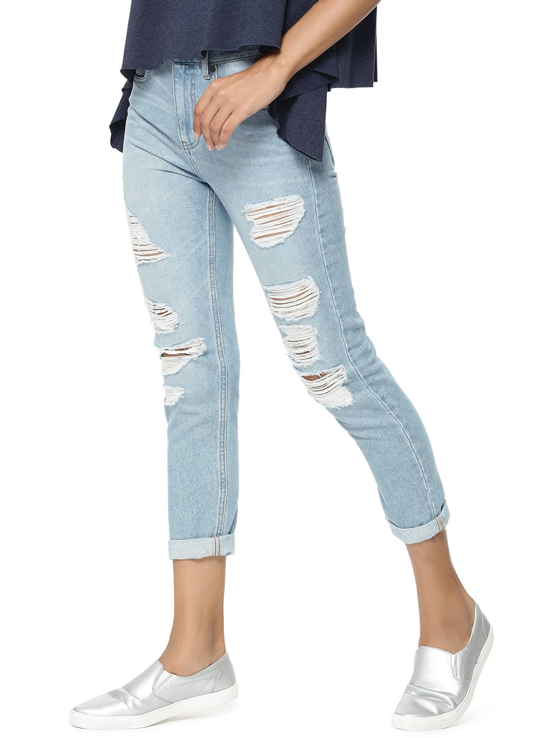 Buy BHANE. Distressed Boyfriend Denim In Slim Fit For Women ...